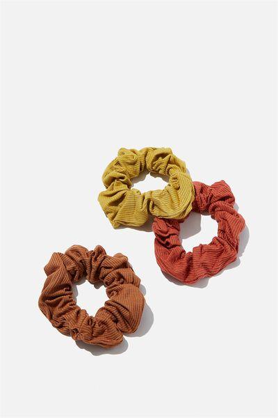 3Pk Scrunchies, EARTHY RIB TRIO