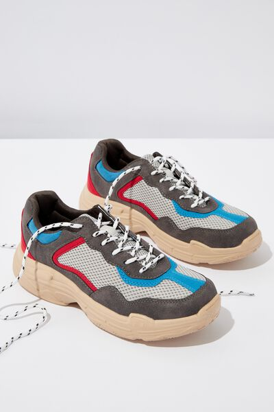 Erika Chunky Trainer, CHARCOAL/RED MULTI