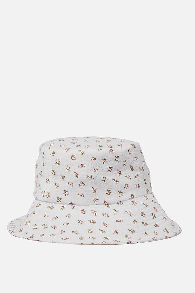 Bianca Bucket Hat, WHITE TEXTURED FLORAL