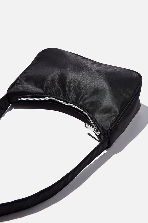 Nylon Underarm Bag, BLACK
