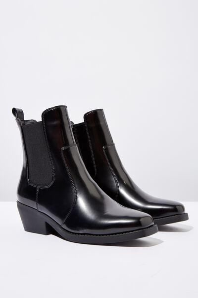 Tessa Square Toe Western Boot, BLACK SMOOTH