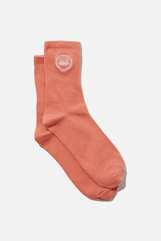 Fine Rib Sports Sock, LCN IRV IRVINS LOGO HONEY PINK