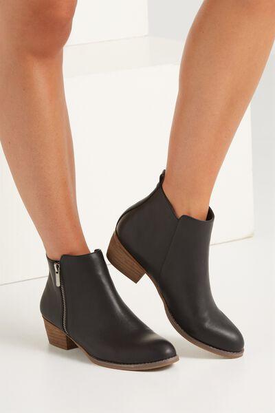 Benji Zip Boot, BLACK SMOOTH