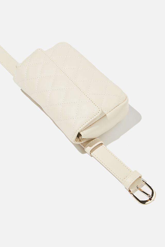 Quilted Belt Bag, ECRU