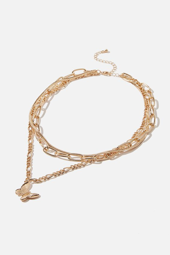 Luxe Layers Links Layered Butterfly Necklace, GOLD