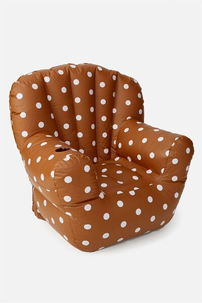 Prop Me Up Inflatable Chair, RUST POLKA DOT