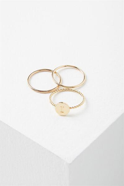 Letter Pendant Ring, GOLD - I