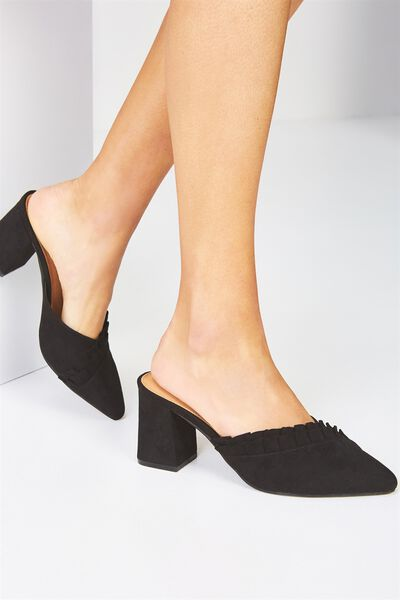 Sylvester Ruffle Mule Heel, BLACK MICRO