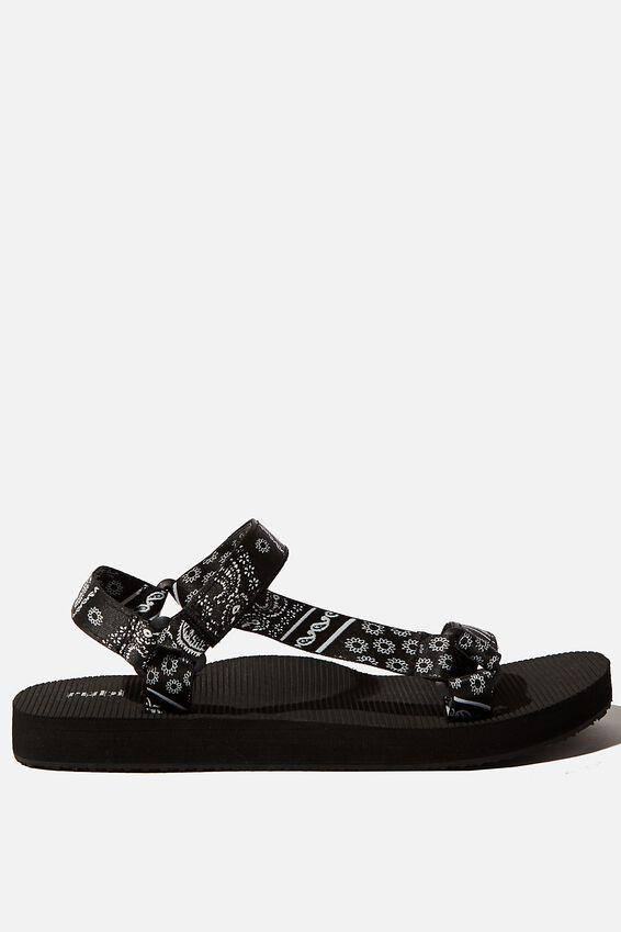 Stormy Sporty Sandal, BLACK WHITE BANDANA