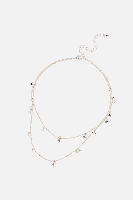 Cosmic Layers Necklace, SILVER STARS