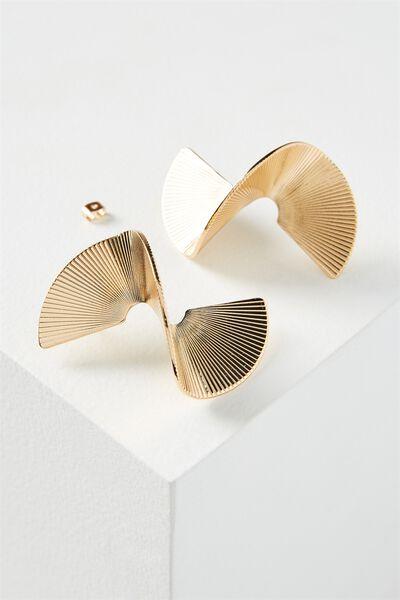 3D Spiral Earring, GOLD