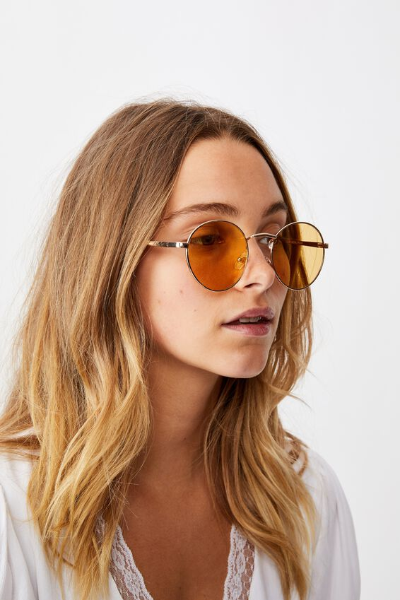 Emmi Metal Frame Sunglasses, GOLD/YELLOW