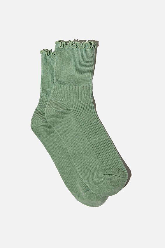 Frill Ribbed Quarter Crew Sock, SEA FOAM GREEN