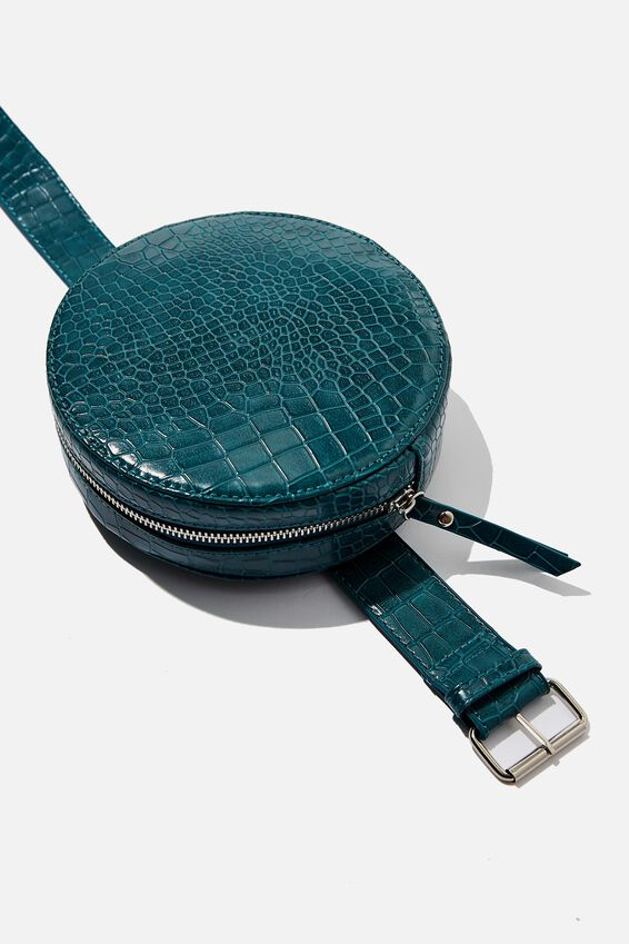 Maria Circle Belt Bag, GREEN CROC PRINT