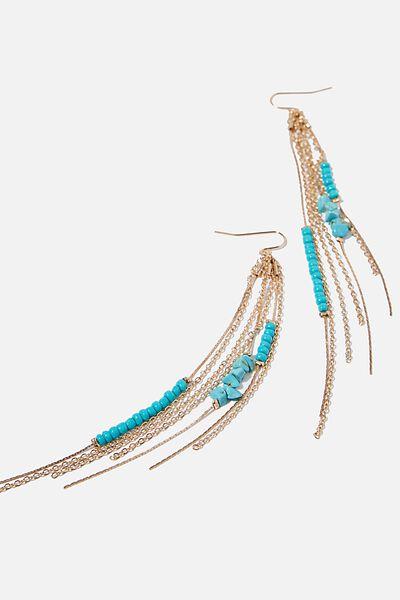 Chain Drop Bondi Earring, TURQUIOSE