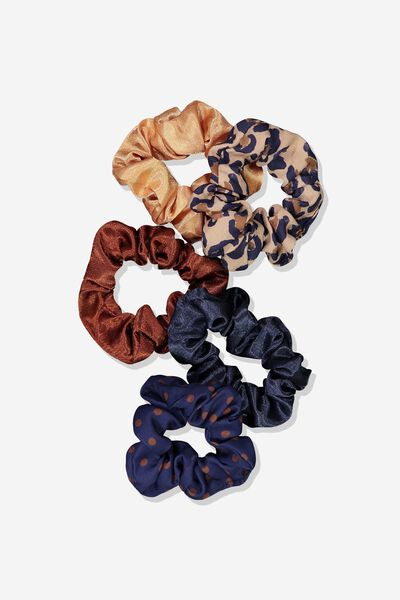 5Pk Scrunchies, BROWN LEOPARD/ NAVY SPOT