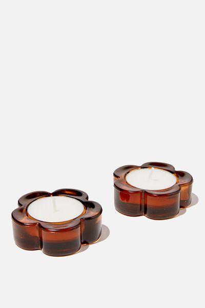 Glass Tealight Holder Set, AMBER DAISY