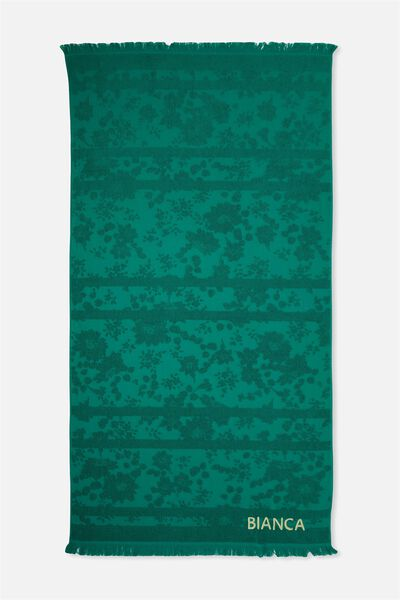 Personalised Love A Jacquard Towel, BONDI GREEN FLORAL