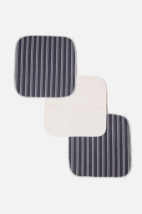 Reusable Face Washer 3Pk, LORETTA STRIPE/MIDNIGHT