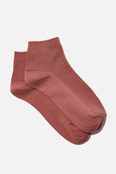 Ribbed Mini Crew Sock, ASH ROSE