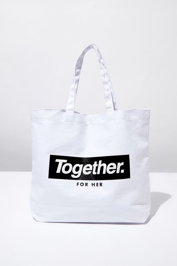 Minimalist Washed Tote, GIRL UP TOGETHER FOR HER WHITE