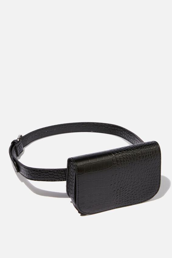 Aimee Rectangle Belt Bag, BLACK CROC PRINT