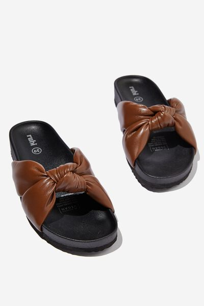 Hitch Knotted Sporty Slide, BERRY CHOCOLATE PU
