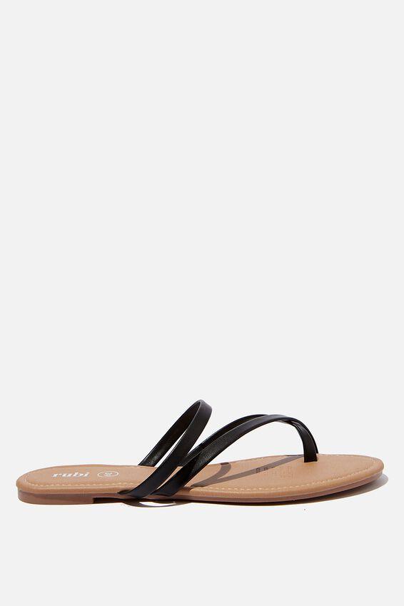 Everyday Strappy Toe Loop Slide, BLACK PU