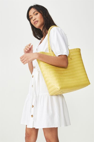 Swim Woven Beach Bag, DAFFODIL