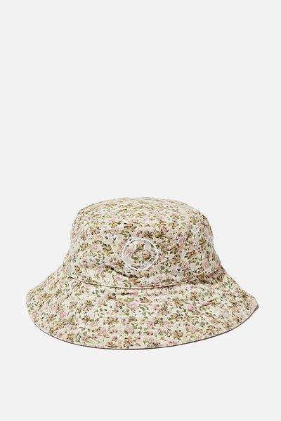 Elly Reversible Wide Brim Bucket Hat, LCN SMI SMILEY LOGO/FLORAL YARDAGE