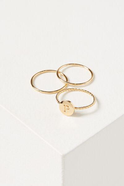 Letter Pendant Ring, GOLD - P
