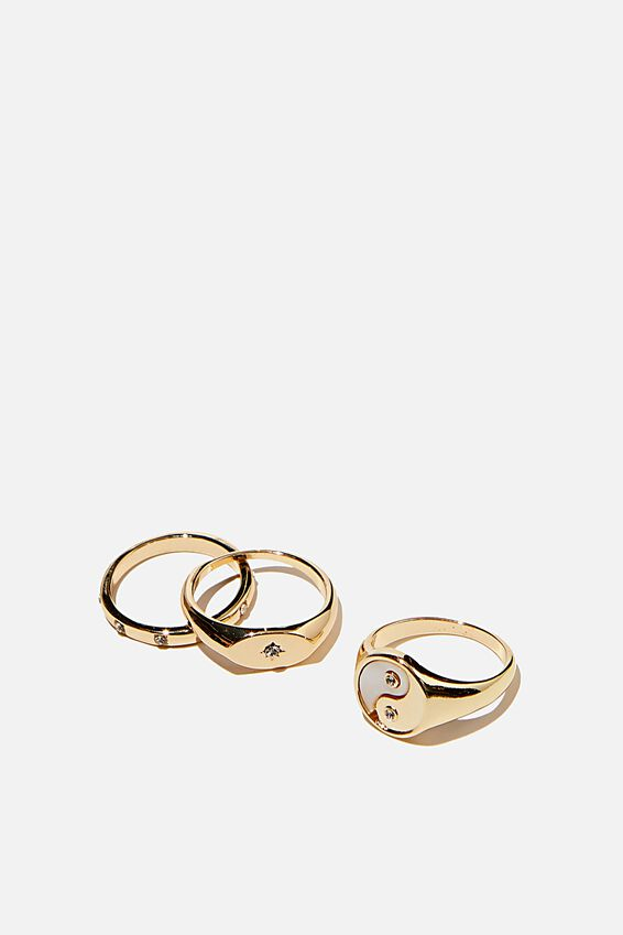 Brighter Days Ring Set, MOP YING & YANG GOLD