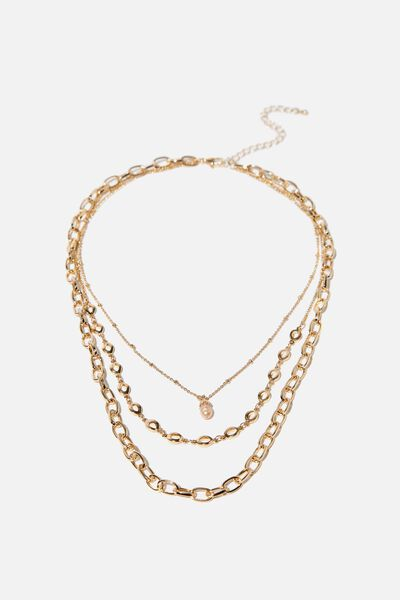 Pearl Drop Modern Metals Layered Neck, GOLD