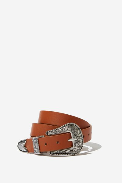Western Buckle Belt, TAN