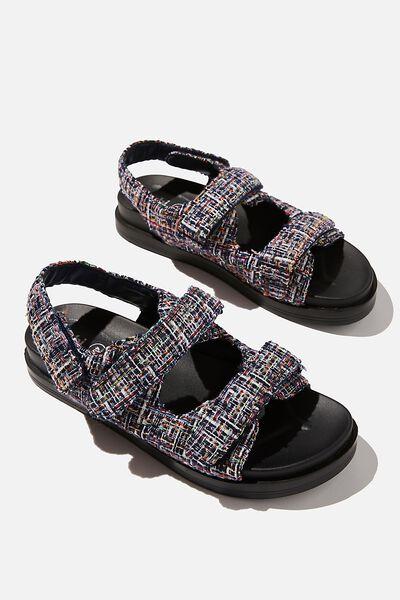 Taylor Velcro Sporty Sandal, NAVY MULTI TWEED