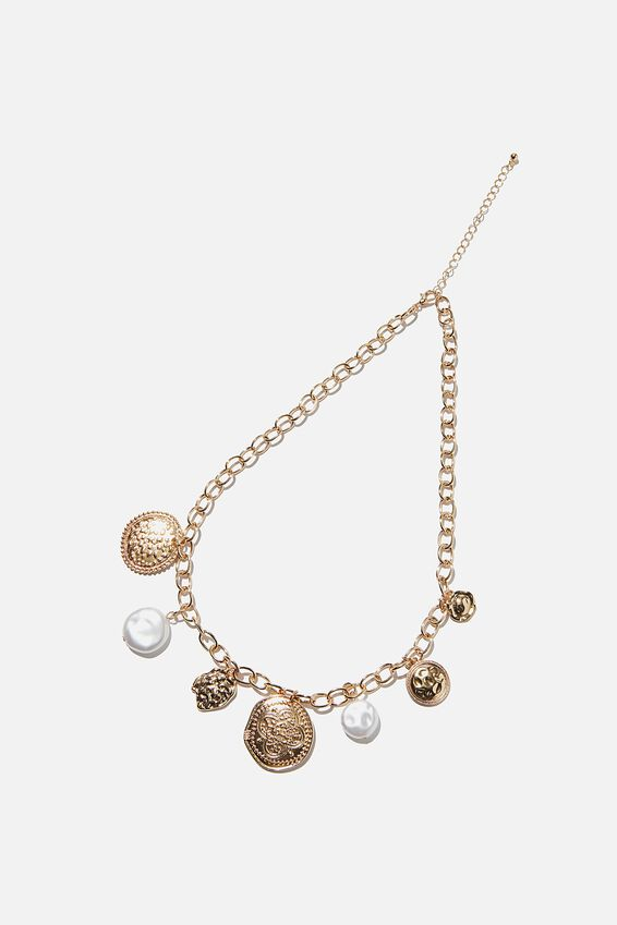 Chain Gang Treasures Necklace, GOLD
