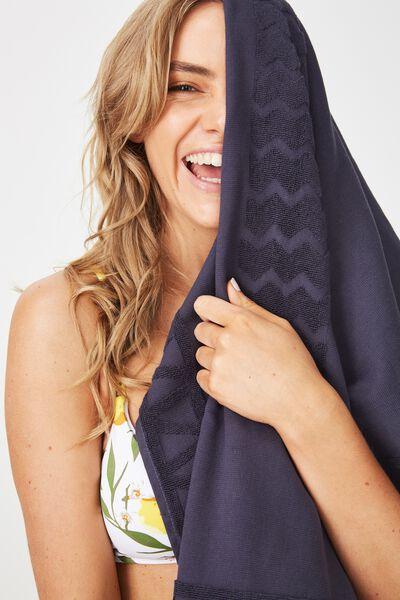 Love A Jacquard Towel, NAVY PLACEMENT PALM