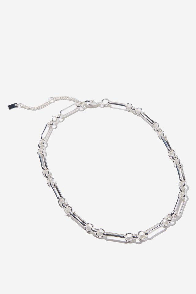 Premium Forever Necklace, STERLING SILVER PLATED VARIGATED LINKS