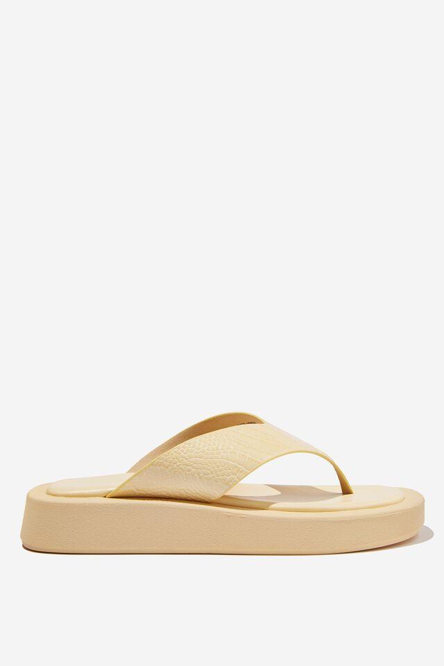 Sadie Flip Flop Flatform, BUTTER CROC PU