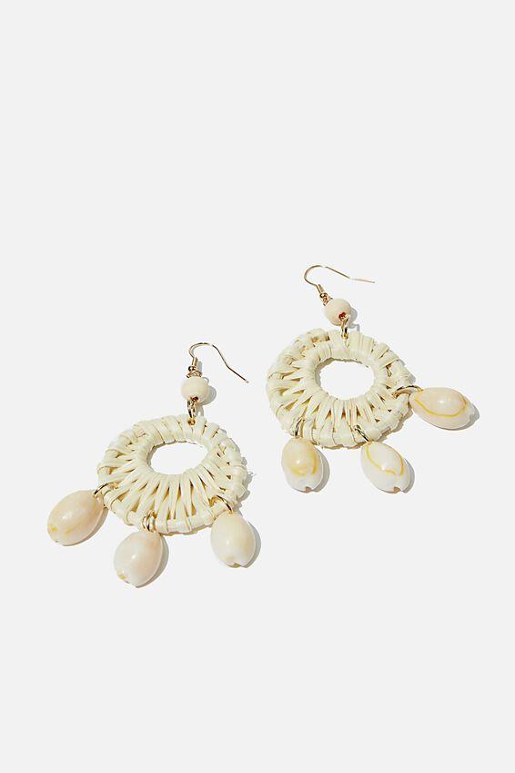 Cowrie Woven Bondi Earring, COWRIE/NATURAL
