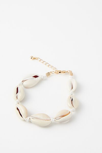 Coco Palm Cowrie Shell Anklet, NATURAL