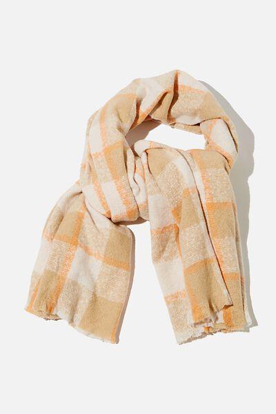 Brady Blanket Scarf, WARM STONE BEC CHECK
