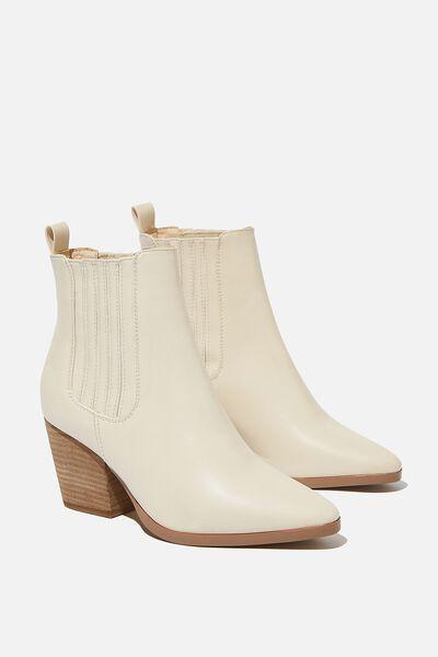 Jolene Gusset Boot, ECRU