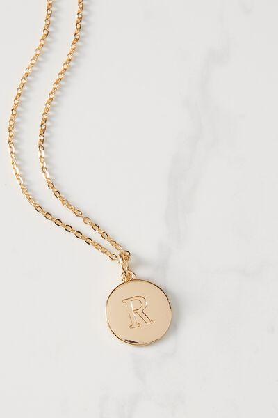 Letter Flat Pendant Necklace, GOLD - R