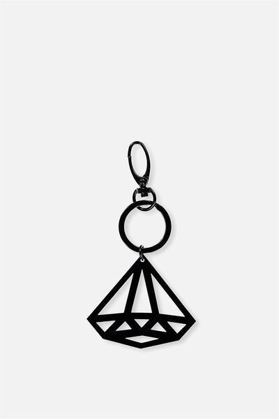 Diamond Bag Charm, BLACK