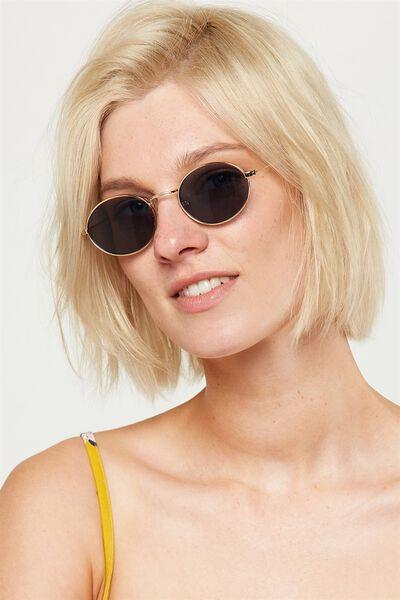 Paigey Oval Metal Sunglasses, GOLD/SMOKE