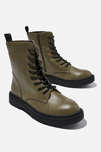 Freda Combat Lace Up Boot, OLIVE GREEN SMOOTH