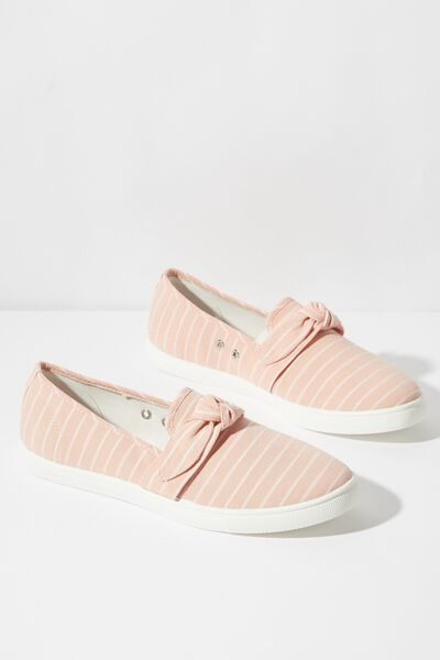 Belle Bow Slip On, BLUSH WOVEN STRIPE