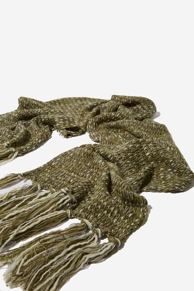 Nicky Knitted Scarf, BURNT OLIVE MIX