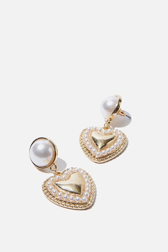 Luxe Layers Queen Of Hearts Earring, GOLD